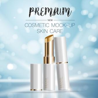 Hydraterende gezichtslippenstift voor jaarlijkse verkoop of festivaluitverkoop. witte en gouden lippenstiftmaskerfles.
