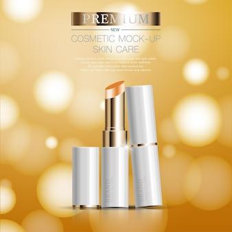 Hydraterende gezichtslippenstift voor jaarlijkse verkoop of festivalverkoop witte en gouden lippenstiftmaskerfles