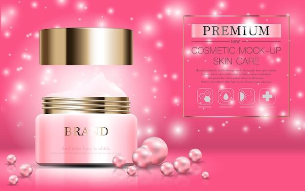 Hydraterende gezichtsparelcrème voor jaarlijkse verkoop of festivalverkoop roze en gouden crèmemaskerfles