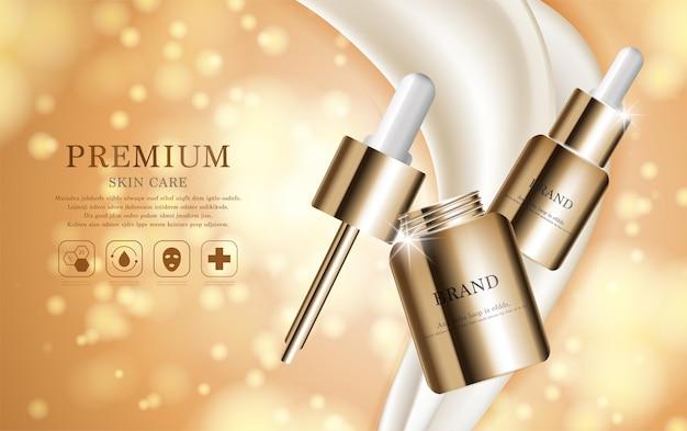 Hydraterende gezichtsverzorging voor jaarlijkse verkoop of festivalverkoop zilverbruine crèmemaskerfles geïsoleerd