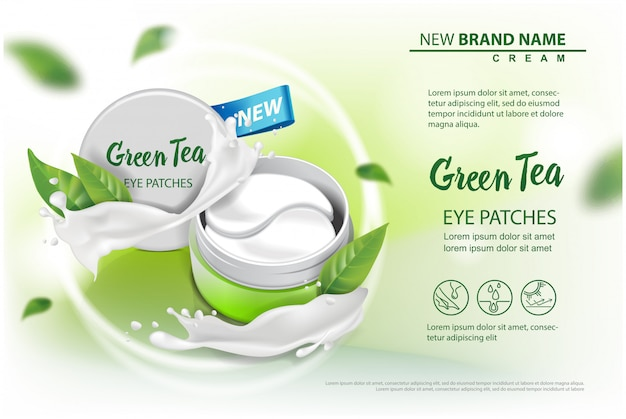 Hydraterende under eye gel patches vector advertenties.