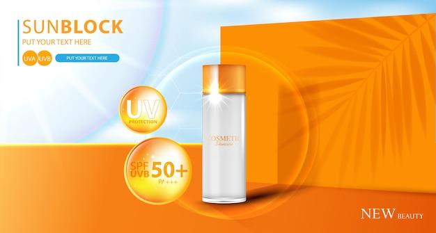 Hydraterende zonnebrandcrème voor het gezicht voor jaarlijkse verkoop of festivalverkoop oranje crèmemaskerfles geïsoleerd