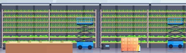 Hydraulische schaarlift platforms pallettruck apparatuur in moderne organische hydrocultuur verticale boerderij interieur landbouw landbouwsysteem concept groene planten groeiende industrie horizontaal Premium Vector