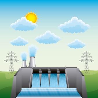 Hydro-elektrische dam kerncentrale en elektrische pyloon