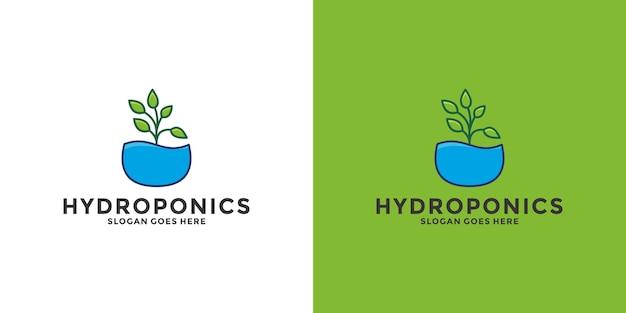 Hydrocultuur logo ontwerp. water met bladsymbool