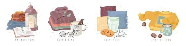 Hygge cosy concept illustraties. diverse composities met als thema een gezellig huis in cartoonstijl.