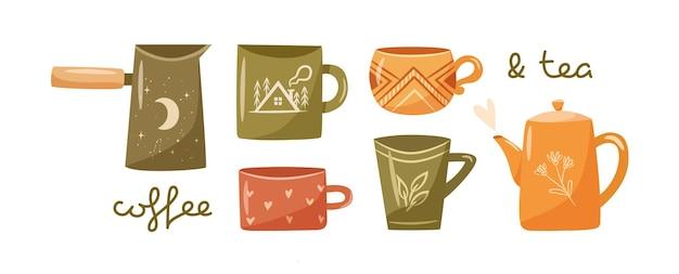 Hygge kopjes set. verzameling van leuke gezellige koffie- en theekopjes, theepot, cezve. platte vectorillustratie