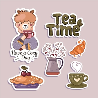 Hygge plat design stickerspakket