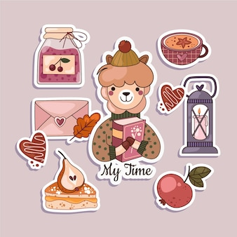 Hygge plat ontwerp stickers set