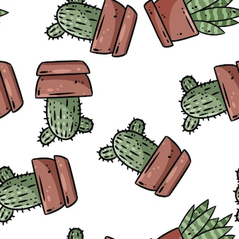 Hygge potcactus planten naadloze grens patroon. gezellige lagom scandinavische stijl succulente doodles bovenaanzicht achtergrond tegel