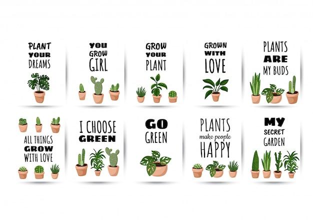 Hygge set ansichtkaarten. verzameling van potplanten vetplanten flyers. gezellige posters in scandinavische stijl