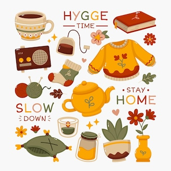 Hygge-stickers in plat ontwerp