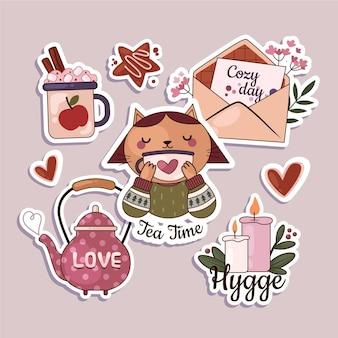Hygge-stickerspakket met plat ontwerp
