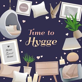 Hygge-stijl interieurelementen frame met kaarsen lamp kussens gezellige leesplekken planten zwarte illustratie