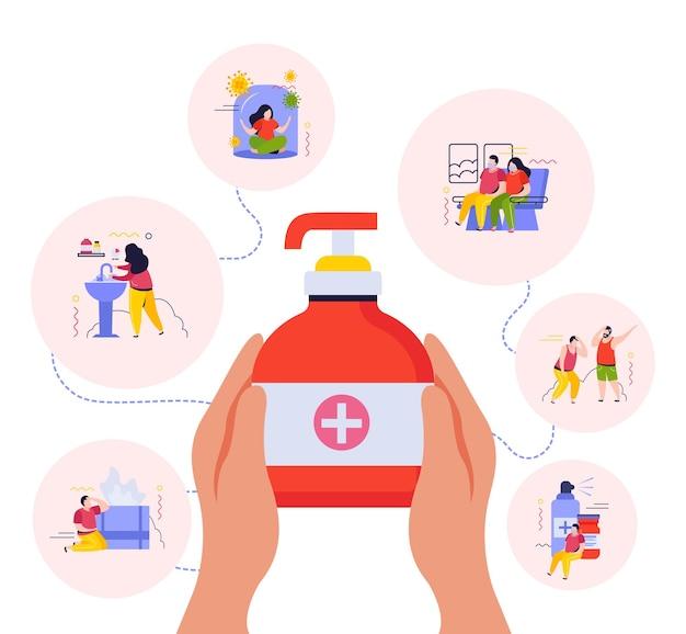 Hygiëneillustratie met platte zeep en antivirus-vloeistofspray