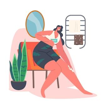 Hygiëneprocedures voor vrouwelijk karakter. vrouw ontharen benen met wax of hydraterende met crème. schoonheid en huidverzorging voor meisjes