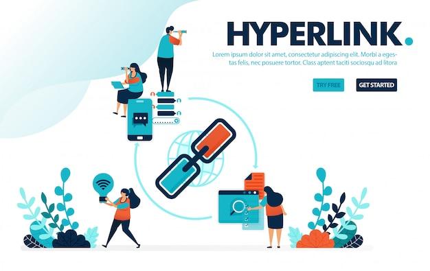 Hyperlink en delen, mensen delen promotielink en advertenties voor verwijzingsmarketing