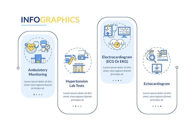Hypertensie diagnose vector infographic sjabloon. lab tests presentatie schets ontwerpelementen. datavisualisatie met 4 stappen. proces tijdlijn info grafiek. workflowlay-out met lijnpictogrammen