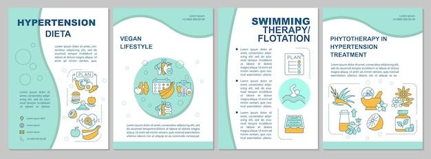 Hypertensie dieet brochure sjabloon. zwemmen therapie. flyer, boekje, folder afdrukken, omslagontwerp met lineaire pictogrammen. vectorlay-outs voor presentatie, jaarverslagen, advertentiepagina's
