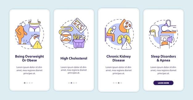 Hypertensie veroorzaakt het onboarding-paginascherm van de mobiele app. hoge cholesterol walkthrough 4 stappen grafische instructies met concepten. ui, ux, gui vectorsjabloon met lineaire kleurenillustraties