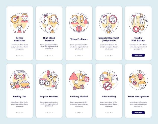 Hypertensiediagnose onboarding paginaschermset voor mobiele app