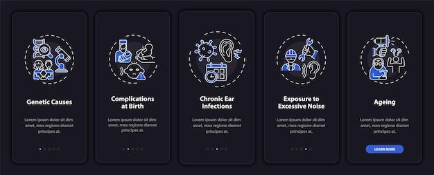 Hypoacusis aspecten onboarding mobiele app paginascherm met concepten