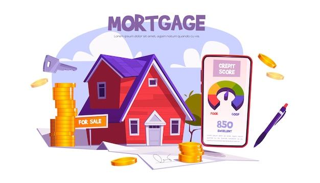 Hypotheek, lening voor de aankoop van een huis. mobiele applicatie met kredietscore voor het kopen of bouwen van onroerend goed.
