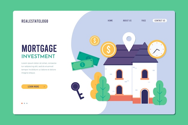 Hypotheek platte ontwerpsjabloon bestemmingspagina