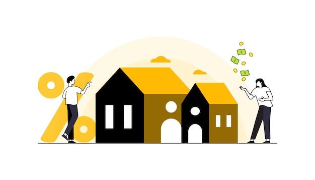 Hypotheek vectorillustratie flat tiny house aankoop schuld personen concept