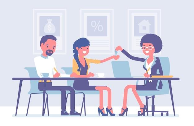 Hypotheek voor een gezin bij een bank. jonge man en vrouw die een overeenkomst sluiten, geld lenen om eigen eigendom in de schulden te krijgen, eigenaren die nieuwe appartementsleutels ontvangen. cartoon vectorillustratie in vlakke stijl