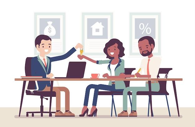 Hypotheek voor een zwarte familie bij een bank. jonge man en vrouw die een overeenkomst sluiten, geld lenen om eigen eigendom in de schulden te krijgen, eigenaren die nieuwe appartementsleutels ontvangen. cartoon vectorillustratie in vlakke stijl