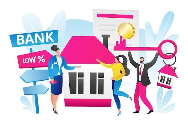 Hypotheek voor huis onroerend goed concept, vectorillustratie, platte man karakter houden sleutel voor huis onroerend goed, vrouw agent werknemer staan in de buurt van gebouw