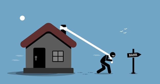 Hypotheekherfinancieringslening. man sleept zijn huis of huis om geld te lenen van de bank.