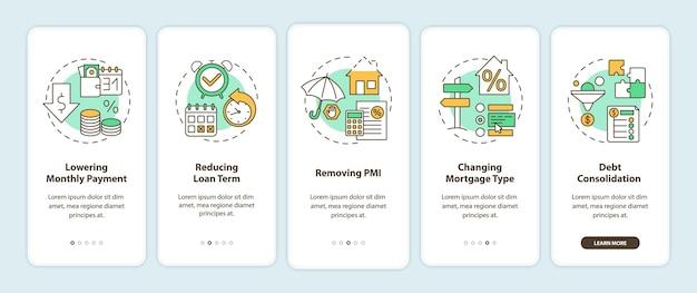 Hypotheekherfinancieringsvoordelen onboarding mobiele app-paginascherm met concepten.