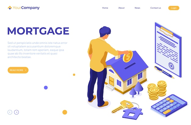 Hypotheekhuis isometrische concept met huis en man investeert geld in onroerend goed