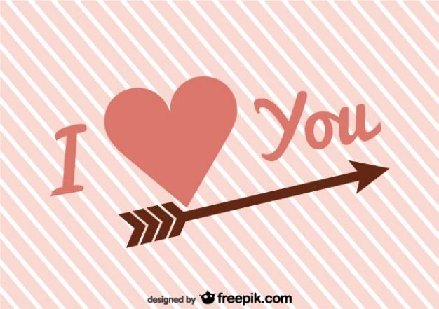 I hart je retro vector kaart voor valentijnsdag