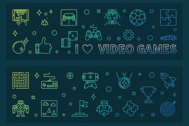I love video games schetsen kleurrijke banner