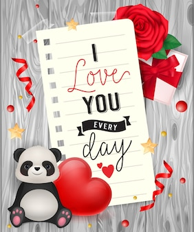I love you lettering with panda