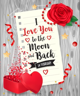 I love you lettering with rose