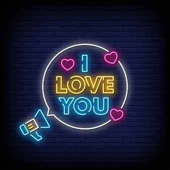 I love you neon signs style text