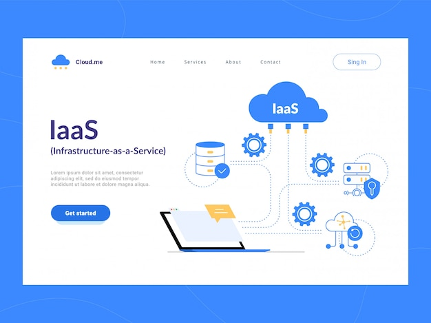 Iaas: infrastructure as a service eerste scherm. flexibel cloud computing-model. virtuele datacenterbronnen op aanvraag. optimalisatie van bedrijfsprocessen voor startups, kleine bedrijven en ondernemingen.