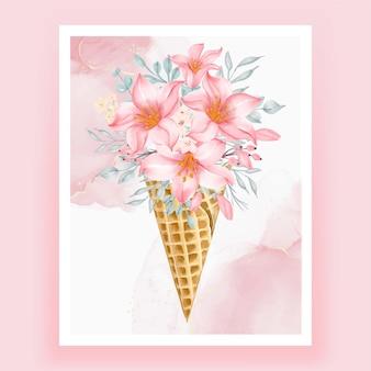 Ice cone met aquarel bloem roze perzik