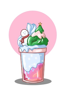 Ice cream blue christmas illustratie