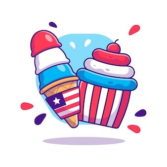 Ice cream en cup cake voor de dag van de onafhankelijkheid van de vs cartoon. onafhankelijkheidsdag van de vs