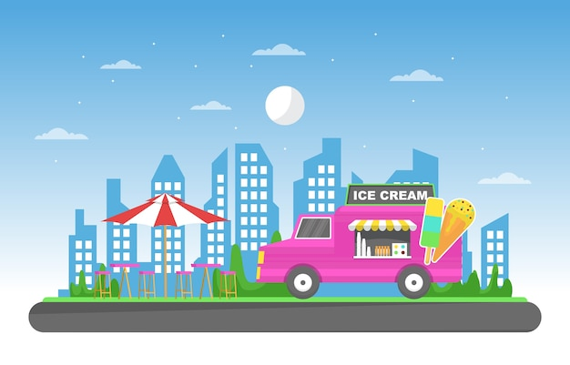 Ice cream food truck van car vehicle street shop illustration