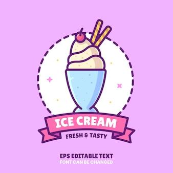 Ice cream logo vector icon illustratie in vlakke stijl premium geïsoleerd ice cream logo
