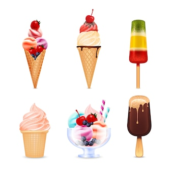 Ice cream realistic set