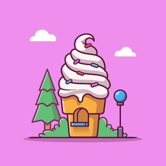 Ice cream shop cartoon pictogram illustratie. voedsel winkel gebouw pictogram concept geïsoleerd. platte cartoon stijl