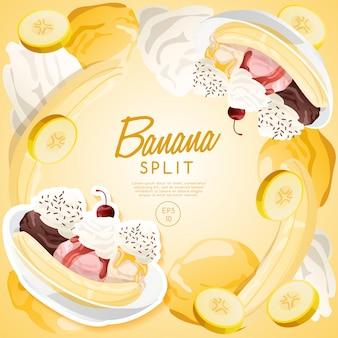 Ice cream sundae set, banana split.
