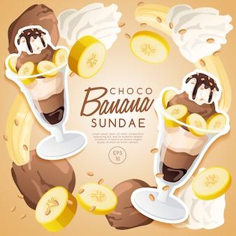 Ice cream sundae set, chocolate banana sundae.